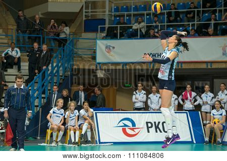 MOSCOW RUSSIA - DECEMBER 2, 2015: E. Gamova (Dynamo (KZN) 11 while playing on women's Rissian volleyball Championship game Dynamo (MSC) vs Dynamo (KZN) at the Luzhniki stadium in Moscow Russia. Kazan won in serie 3: 2