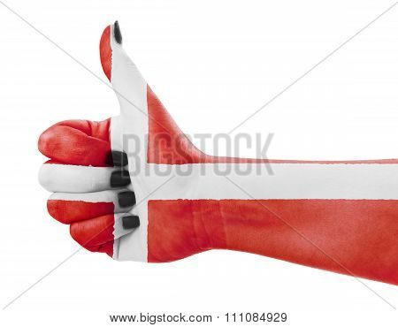 Flag Of Denmark On Hand