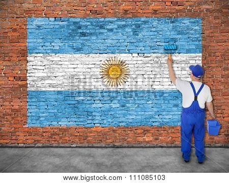 House Painter Paints Flag Of Argentina