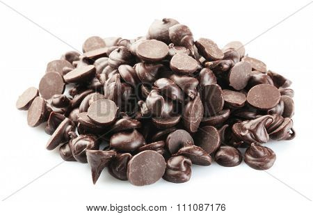 Chocolate morsels isolated on white
