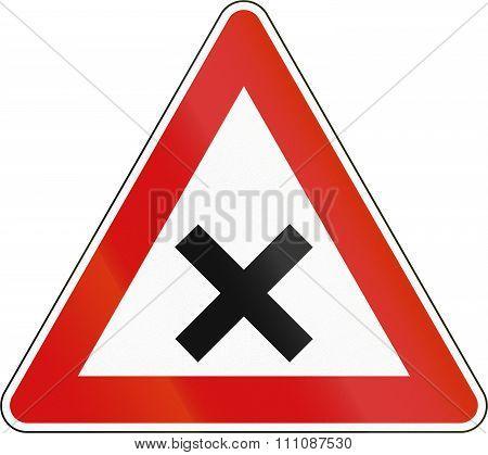 Slovenian Road Warning Sign - Uncontrolled Crossroads