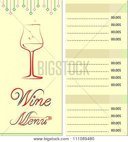 Wine Menu Card List Design Template