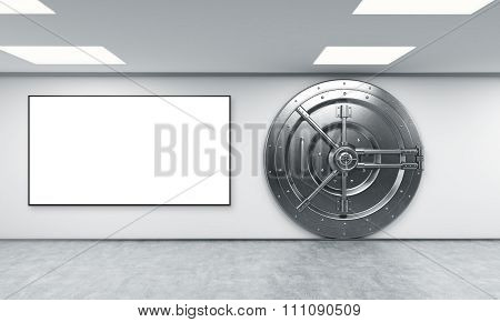 Locked Round Safe In A Bank Depository