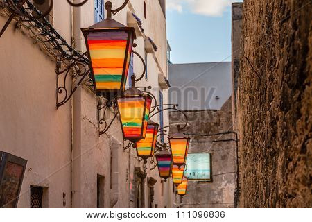 Brightly colored street lamps. Essaouira In Morocco