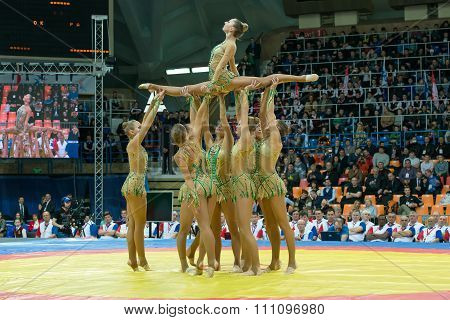 Stadium Druzhba. The Team Of Russia On Aesthetic Gymnastics At The Openin