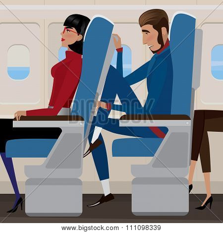 Woman sat back in a reclining seat and man behind the closely - discomfort and saving money concept poster