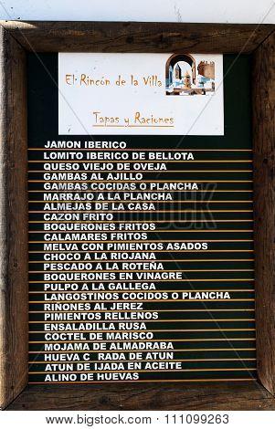 Tapas menu board, Spain.