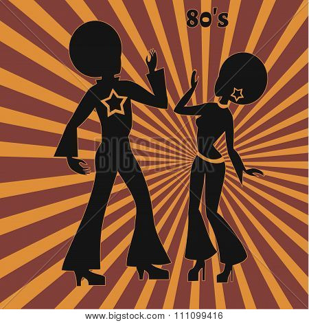 Two Disco Dancers, Retro Illustration Of Seventies
