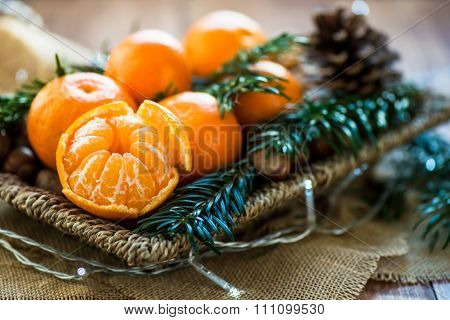 Fresh Clementines Or Tangerines In The Basket