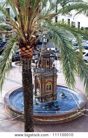Fountain and palm tree, Vejer de la Frontera.