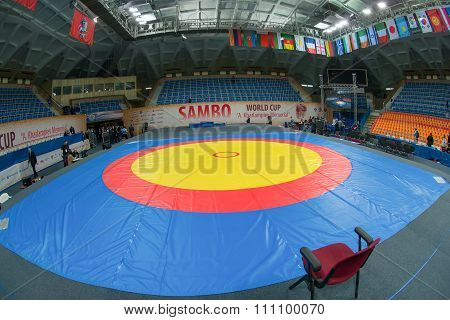Russia, Moscow - March 27: Stadium Druzhba In Wide Angle View Just Before The World Sambo Championsh