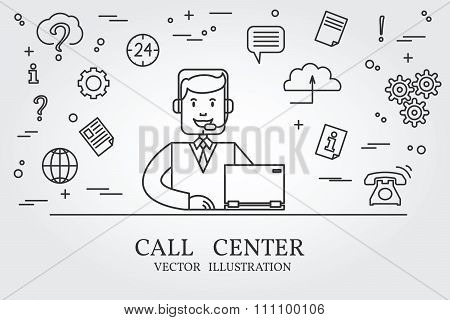 Call Center Thin Line Design. Call Center Pen Icon. Call Center Pen Icon Vector. Call Center Pen Ico