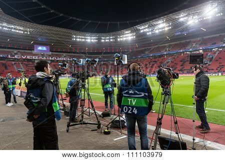 Media And Photographers  During The Uefa Champions League Game Between Bayer 04 Leverkusen Vs Barcel
