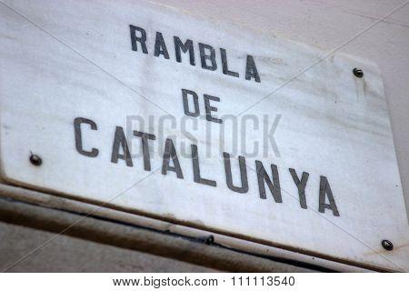 Rambla de Catalunya Street Sign in Barcelona Spain poster