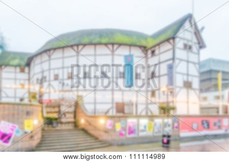 Defocused Background Of Shakespeare's Globe Theatre In London
