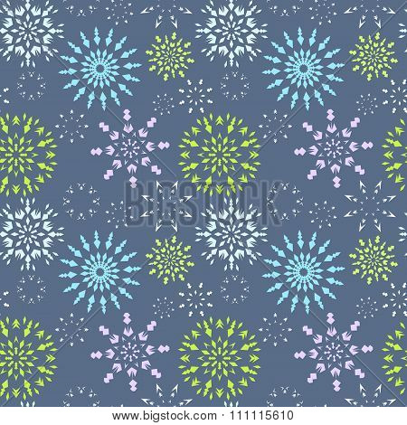 Christmas seamless pattern. Light color snowflake signs on soft blue background. Winter theme retro