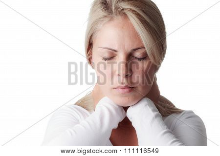 Woman Holding The Neck Isolated On White Background. Sore Throat, Meningitis