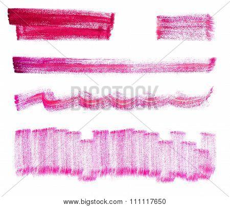 Set of rose watercolor brush strokes.