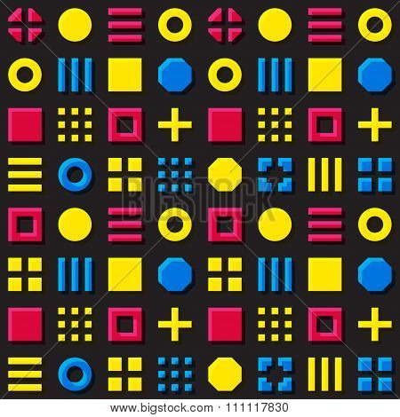 Vector Seamless Geometric Primitive Blocks Grid In Cyan Magenta And Yellow Colors Overprint Pattern