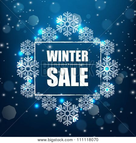 Winter sale banner background