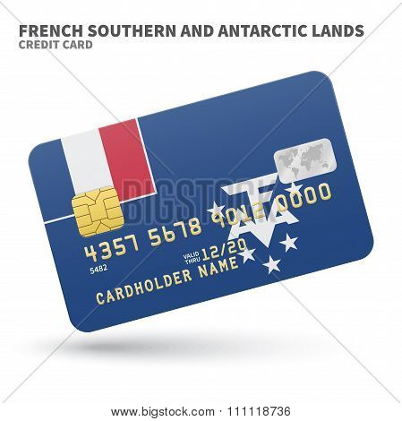 Credit card with French Southern and Antarctic Lands flag background for bank, presentations and business. Isolated on white background vector illustration. poster