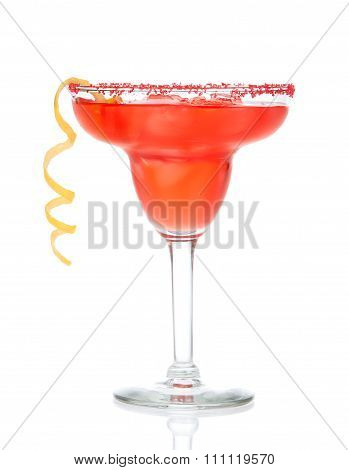 Red Margarita Cocktail In Chilled Salt Rimmed Glass With Tequila