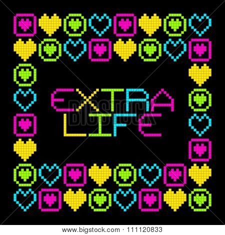 8-bit Pixel Retro Extra Life Message. Eps8 Vector