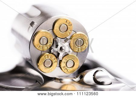 Macro Shot Of An Open Revolver Loaded With Bullets