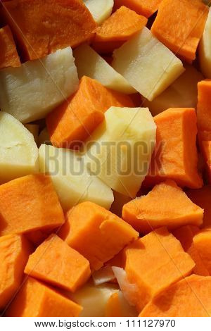 Cubed Sweet potatoes and Yams