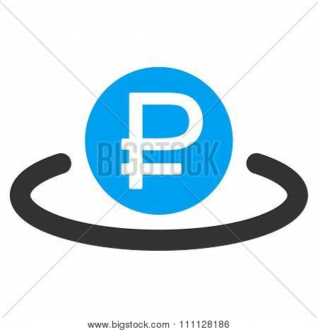 Rouble Deposit vector icon. Style is bicolor flat symbol, blue and gray colors, rounded angles, white background. poster