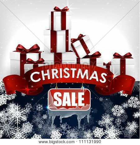 Christmas sale background with red realistic ribbon banner and gift boxes