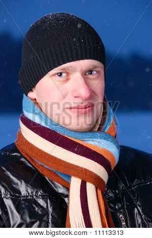 Handsome Man At Winter Evening