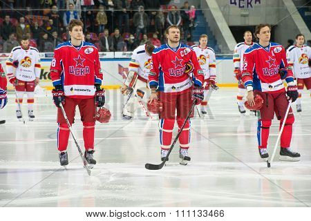 MOSCOW - MARCH 19, 2015: Hockey players CSKA listen to the national anthem in the hockey game Yokerit vs CSKA on Russia KHL championship in the sports complex CSKA Moscow, Russia. CSKA won 4: 2