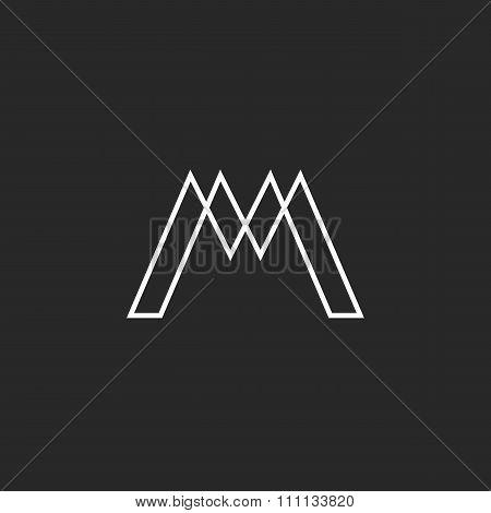 Logo M Letter Monogram, Thin Line Weaving Geometric Shape, Mockup Hipster Design Element