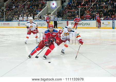 MOSCOW - MARCH 19, 2015: Jan Mursak (39) in action on hockey game Yokerit vs CSKA on Russia KHL championship in the sports complex CSKA Moscow, Russia. CSKA won 4: 2