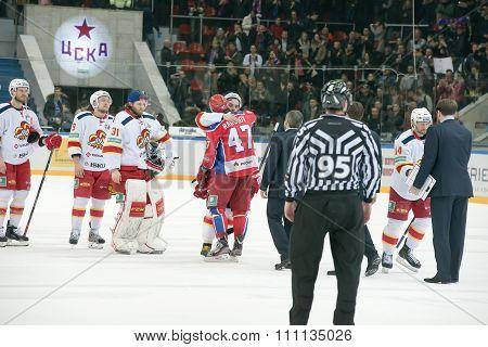 CSKA to warm up before the hockey game Yokerit vs CSKA on Russia KHL championship