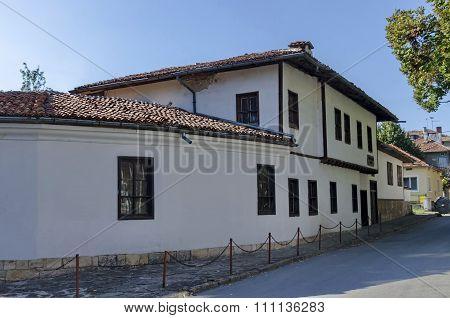 Razgrad town, street and house. Old house in revival quarter Varosha, Razgrad, Bulgaria poster