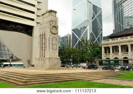 HONG KONG - MAY 06, 2015: The Cenotaph in Central. The Cenotaph is a war memorial, constructed in 1923 and located between Statue Square and the City Hall in Central, Hong Kong