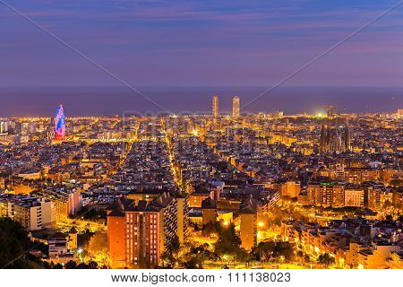 Barcelona Skyline In The Afternoon At Blue Hour