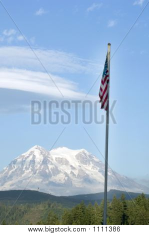 Mount Ranier With Flag Pct0699