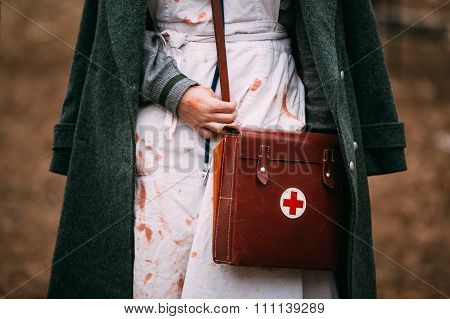 Unidentified re-enactor wears historical German Red Cross - DRK