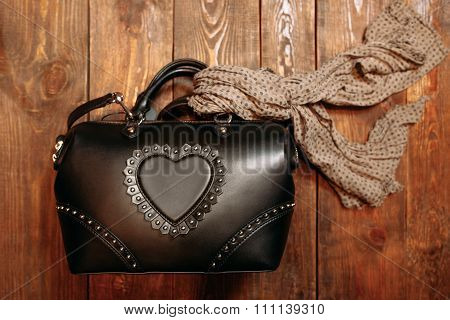 Women's Accessory.  Leather Bag And Scarf