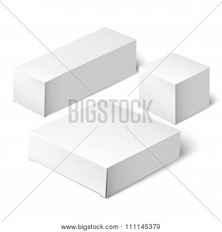 Set Of White Package Box. Mockup Template