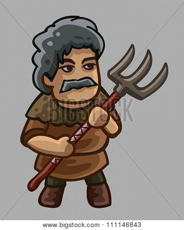 Peasant cartoon character. Vector illustration