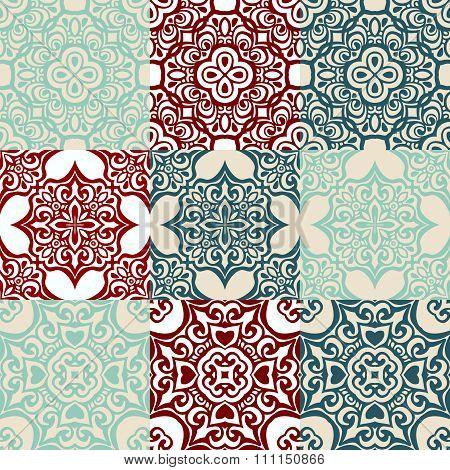 set of Seamless vintage  ornametal pattern.