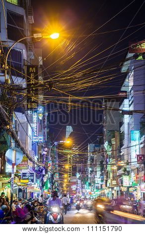 Night view of Bui Vien street, Ho Chi Minh City, Vietnam