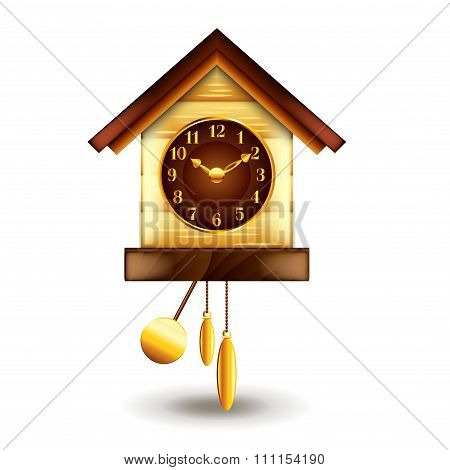 Cuckoo-clock Isolated On White Vector
