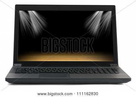 Black laptop with picture