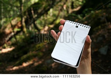 Hand holding empty notepad outdoor