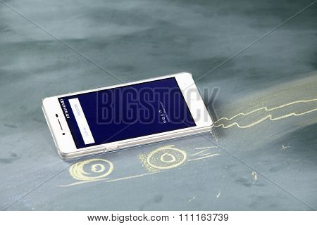 kuala lumpur-malaysia, 16th november 2015,smart phone display with uber app log in page